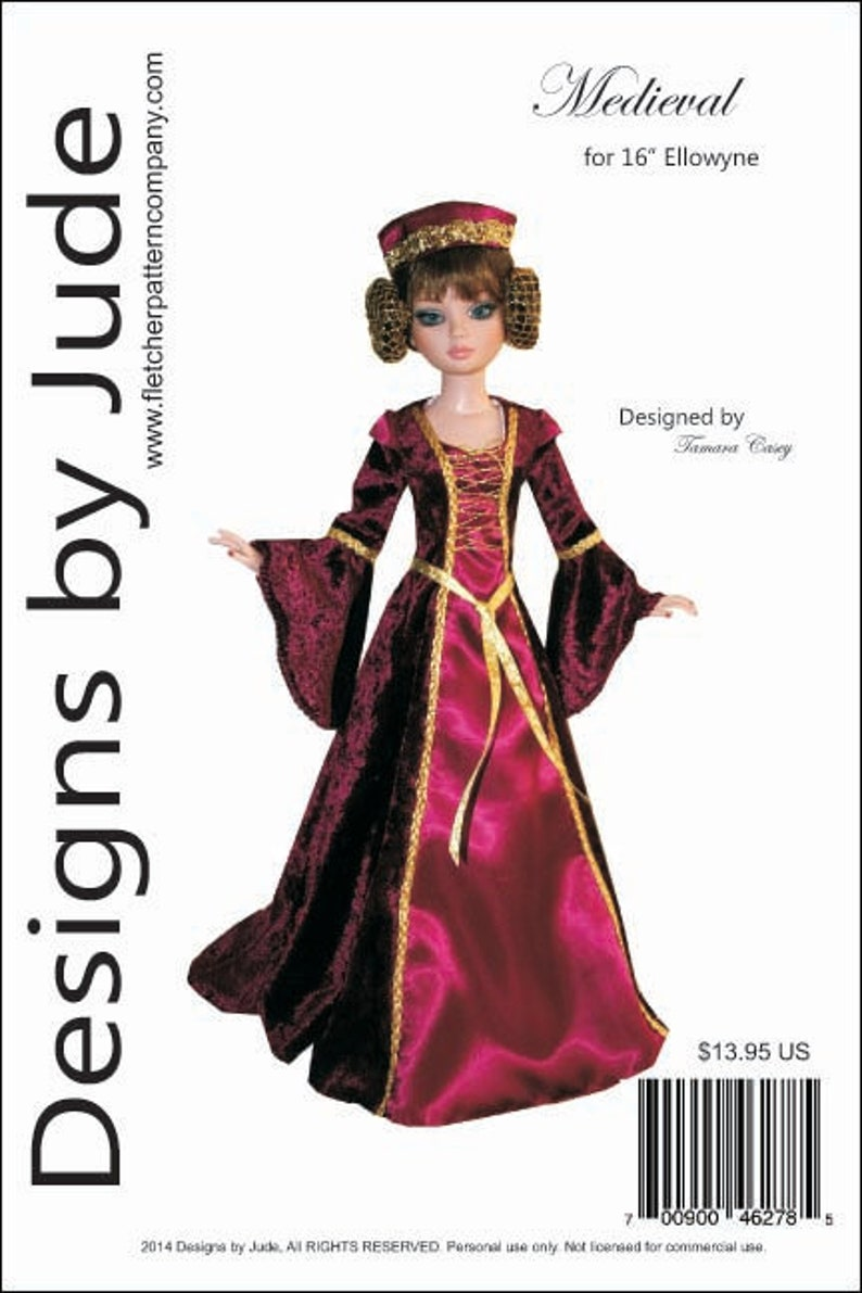 Medevial Pluvial Robe Doll Clothes Sewing Pattern for 45.5cm Iplehouse FID Dolls
