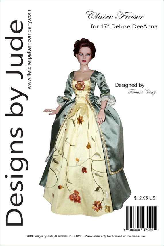 "Outlander Claire Fraser Sewing Pattern for 16/"" Ellowyne Dolls Poldark"