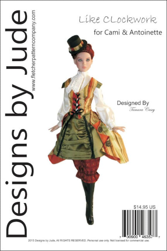 Opulent Victorian Doll Clothes Sewing Pattern for Cami /& Antoinette Dolls Tonner