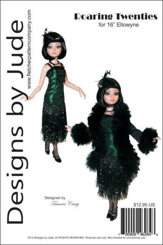 """Roaring Twenties Flapper Doll Clothes Sewing Pattern for 16/"""" Poppy Integrity"""