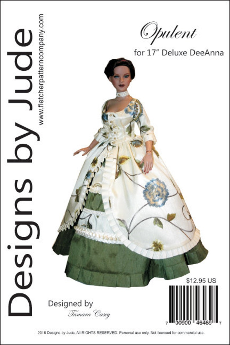 """Regency Doll Clothes Sewing Pattern for 17/"""" Super Deluxe DeeAnna Tonner"""