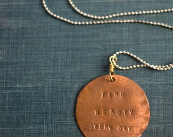 REMINDER NECKLACE, Copper Pendant, Mantra Necklace, Quote Necklace, Meaningful Necklace