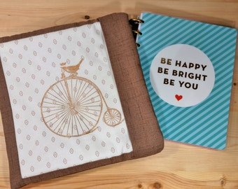 Planner Pouch - Sleeve for A5, Spiral, or Personal Binder Planners - Dust Jacket, Case, Protector for Filofax, Kikki K, Erin Condren, Happy