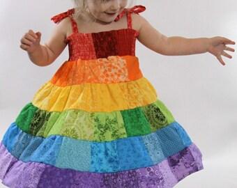 Rainbow Dress - Toddler/Girls Patchwork Smocked Twirl Sundress - 12m, 18m, 2T, 3T, 4T, 5, 6