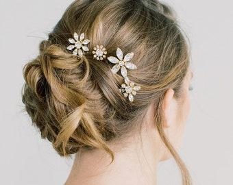 Sparkling Floral Swarovski Hairpins - Set of Four, Swarovski flowers, Bridal Hair Pins, clips, Wedding Hair Pins, Diamanté, Hair Accessories