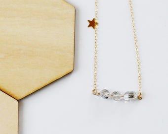 Herkimer Diamond Necklace, gemstone, healing crystal, dainty, gift, gold sterling silver, celestial, luminous, moon jewelry, diamond jewelry