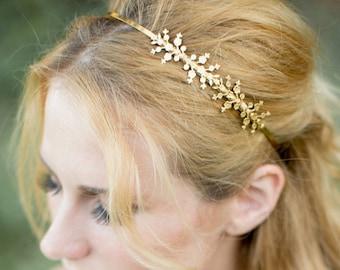 Delicate Blossoms Headband - Bridal hair accessories, Flower Crown, Boho Wedding, Hair piece, Tiara, Wedding Hair Accessories, head piece