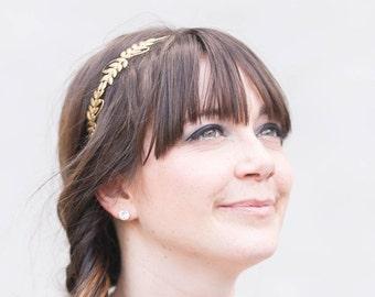 Little Laurels Golden Leaf Headband - SImple Leaf Headband, Bridal, Everyday, Golden Laurel Leaf, Boho Headpiece