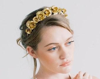 Rosebud Crown - Gold Flower Crown, Hair piece, Bridal, Head Piece, Hair Accessories, tiara, gold statement crown, wedding tiara