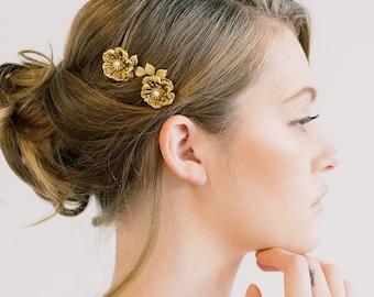 Poppy Bloom Mini Combs - Hair clip, Floral head piece, bridal flower comb, hairpin, barrette head piece, flower comb, floral poppy gold