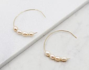 Pink Pearl and Gold half Hoop Earrings, dangle, hoops, real pearls, bridal, wedding, beaded, classic, big hoop earrings, pastel, pink