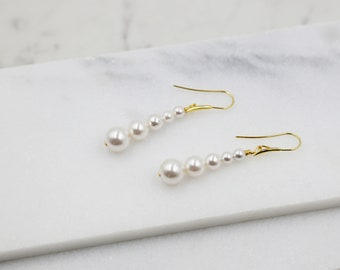 Long Pearl Gold Earrings, dangle, stick, swarovski pearls, bridal, wedding, beaded earrings, classic, big hoop earrings, white pearls