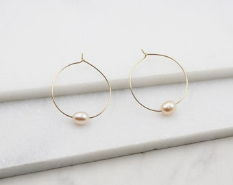 Small Pink Pearl and Gold Hoop Earrings, dangle, hoops, real pearls, bridal, wedding, beaded, classic, big hoop earrings, pastel, pink