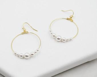 Large Pearl Hoop Earrings, gold hoops, swarovski pearls, bridal earrings, wedding, beaded earrings, classic, big hoop earrings, white pearls