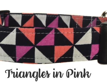 Pink Triangle Patterned Dog Collar - The Triangles in Pink