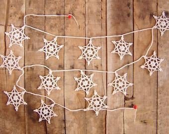 Christmas Bunting, Merry Christmas Garland,  Garland Christmas With Crochet Snowflakes