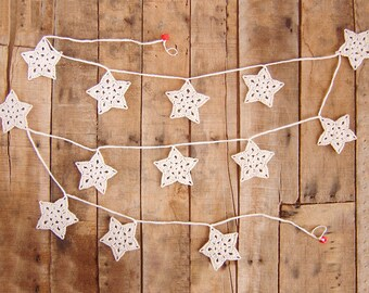 Snowflakes Christmas Garland, Stars Christmas, Crochet Snowflake Garland