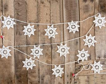 Christmas Garland. Crochet Christmas Decorations, Xmas Decorations. Crochet Snowflakes Garland