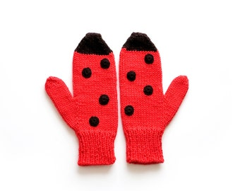 Animal Mittens. Ladybug Mittens. Knitted Mittens Ladybirds. Animal mitts