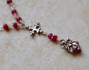 Ruby Heart Crown Charm Silver Necklace, July Birthstone, Cross Necklace, Cross Charm