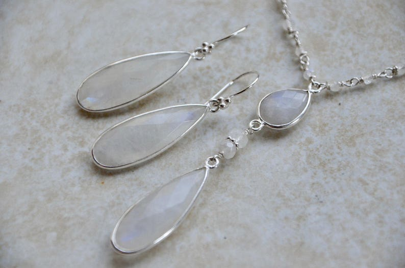 Silver Moonstone Double Strand Necklace Earrings Set