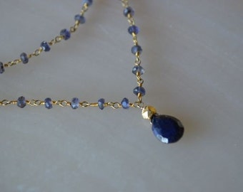Iolite and saphire necklace gold filled September Birthstone, Double Strand Necklace