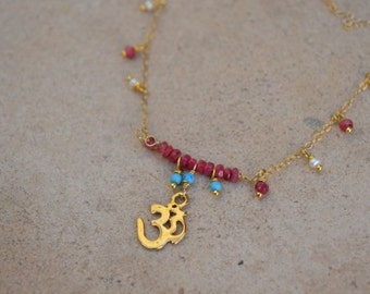 Ruby, Turquoise, pearl, Om necklace gold filled