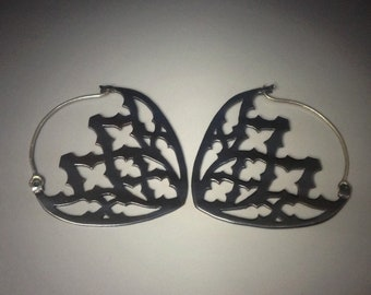Blackened copper medieval cathedral gothic tracery earrings with sterling silver earwires