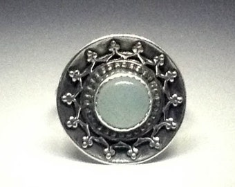 Stunning Bohemian Aqua Chalcedony Sterling Silver boho cocktail ring with ornate wire detail and oxidized patina
