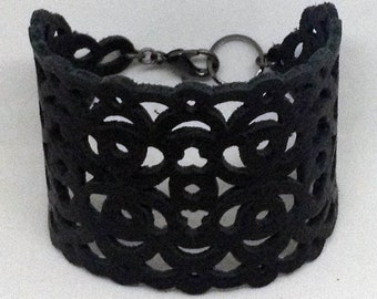 Delia Black leather cuff bracelet with filigree cutouts gothic style