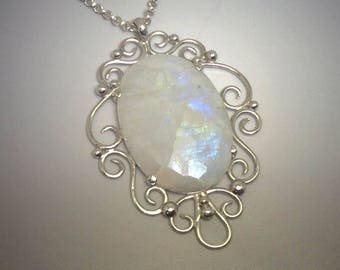 Lady Sofiel's Secret Faceted Rainbow Moonstone Sterling Silver Filigree Pendant with Granulation