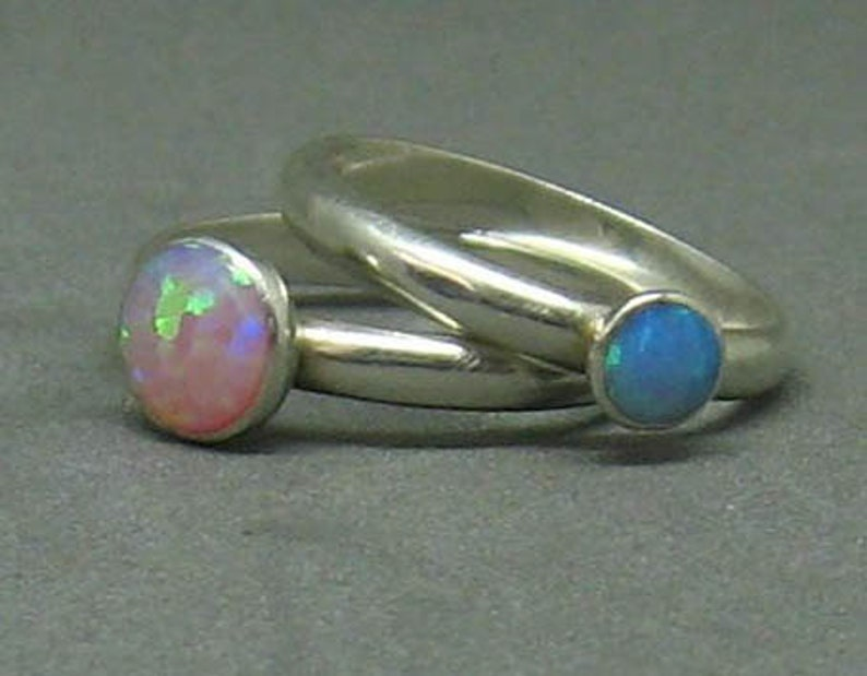 Blue and pink opal ring set of two for stacking or solo wear image 0