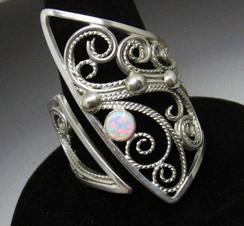 Edgy Asymmetrical Filigree Opal Sterling Silver Cocktail Ring image 0