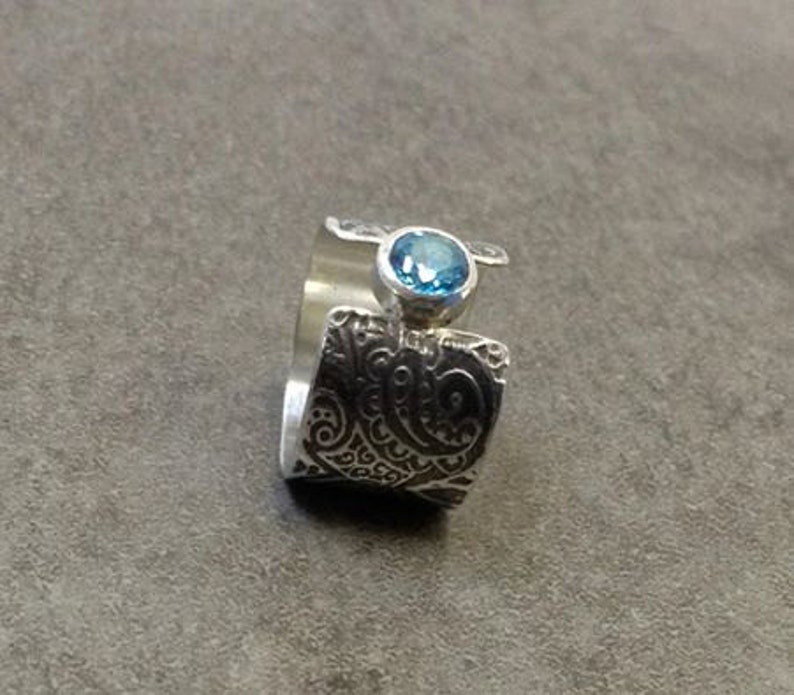 London Blue Topaz sterling silver ring with paisley pattern image 0