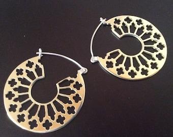 Rosette Gothic Architectural Brass Hoop Earrings
