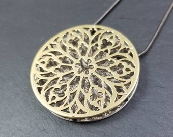 Cathedral Gothic Rose Window Layered Brass and Sterling Silver Pendant with spacer rivets