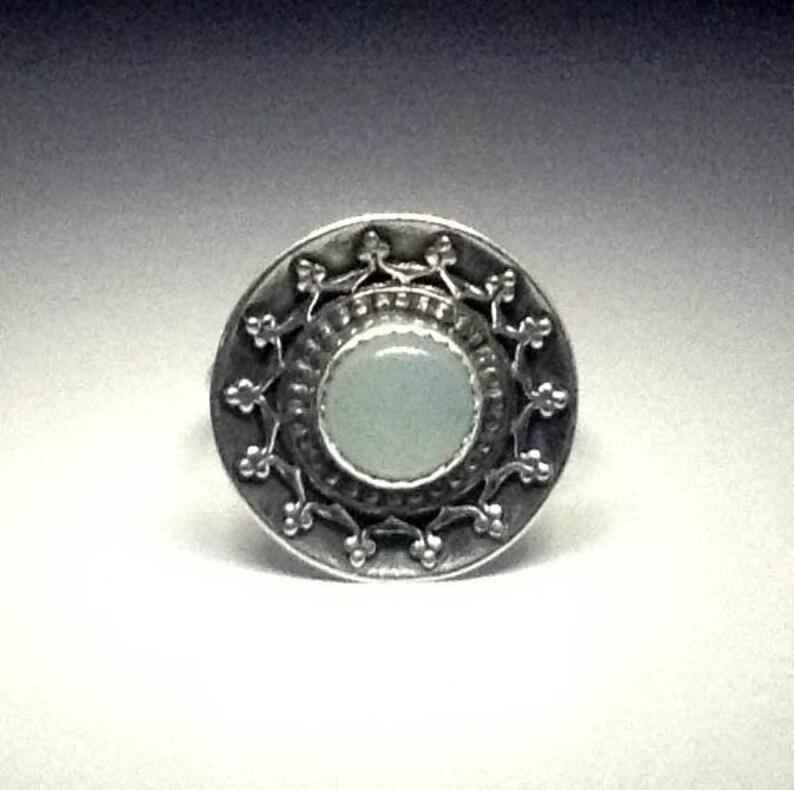 Stunning Bohemian Aqua Chalcedony Sterling Silver boho image 0