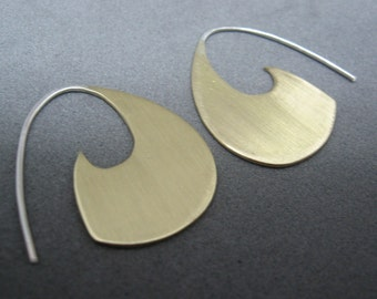 Caprica brass and sterling silver earrings science fiction inspired blade style