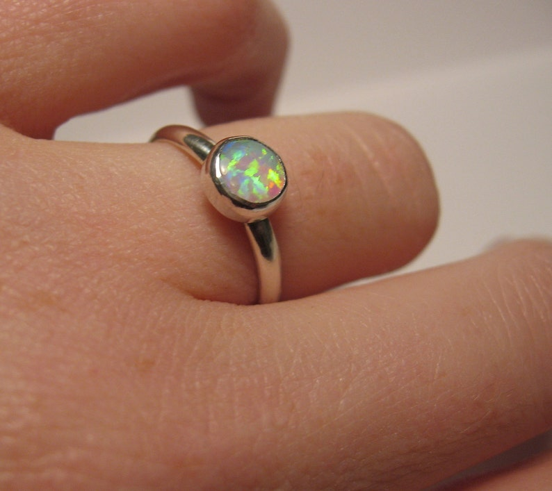 Simple and elegant opal ring in sterling silver for stacking image 0
