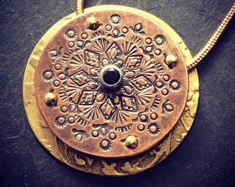 Stamped Mixed Metal Copper and Brass Mandala Pendant with black Cubic Zirconia