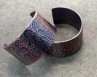 Temple Gates embossed copper and sterling hoop earrings in caramel brown and black