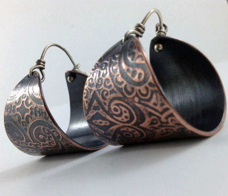 Chunky paisley copper hoop earrings with texture pattern and image 0