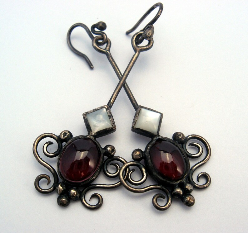 Baroque garnet and mother of pearl earrings in sterling silver image 0
