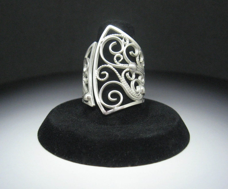 Large Filigree Sterling Silver Scrollwork Elegant Cocktail image 0