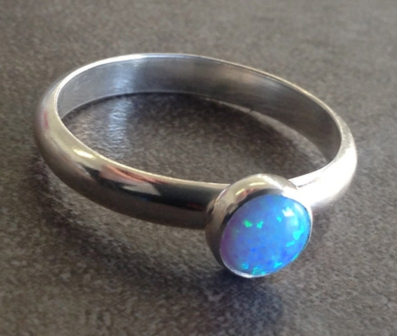 Dazzling blue opal ring sterling silver for solo wear or image 0