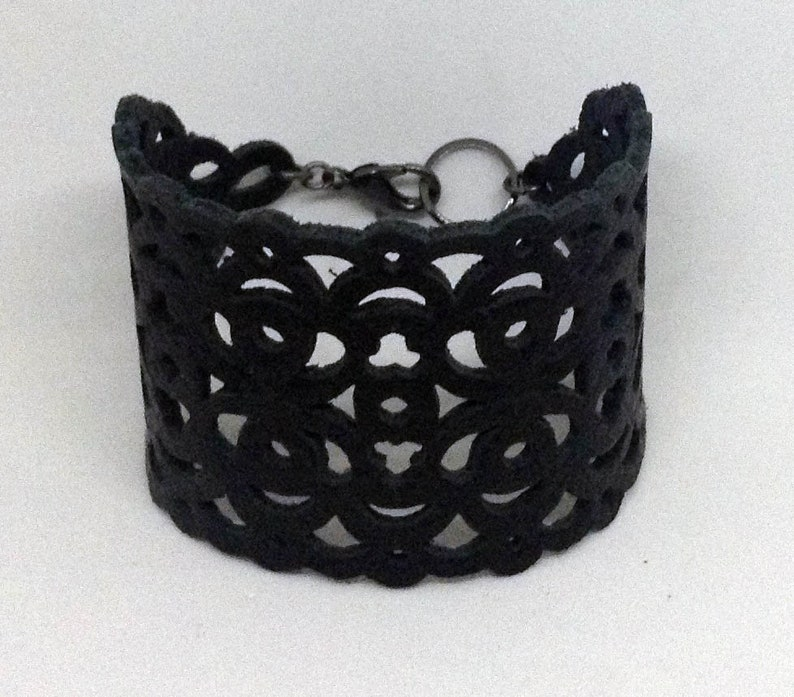 Delia Black leather cuff bracelet with filigree cutouts gothic image 0