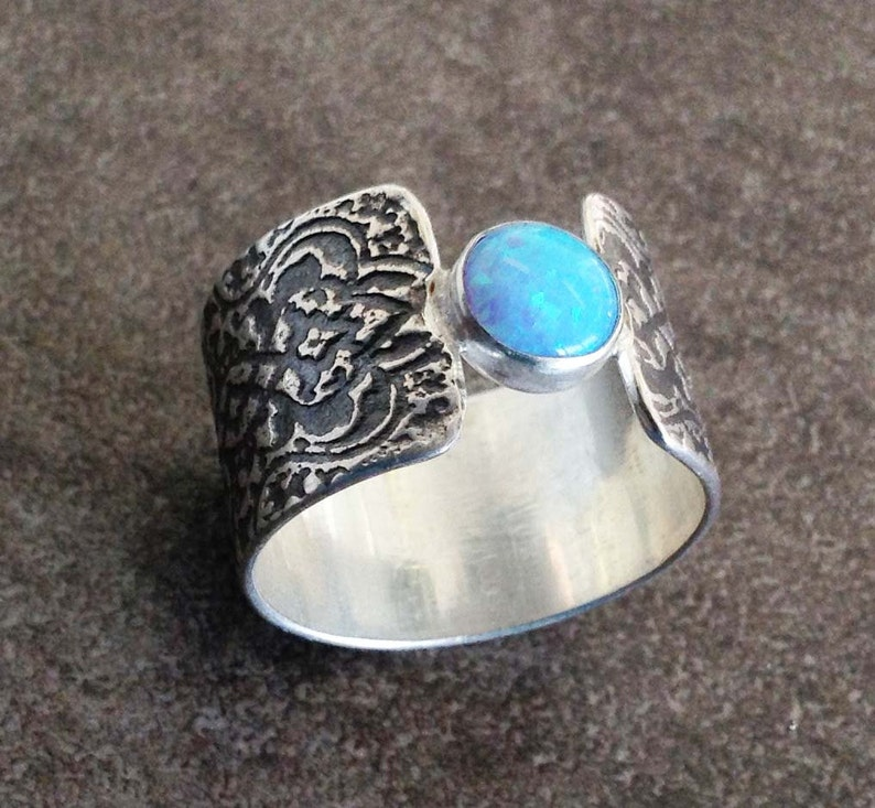 Blue opal sterling silver ring with arabesque pattern texture image 0