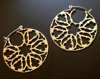 Gothic Rose Window Brass Hoop Earrings