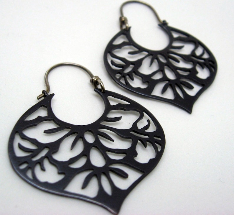 Black copper earrings with japanese floral pattern sterling image 0