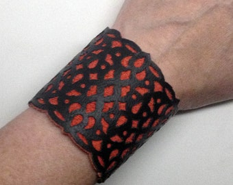 Mordelaine Black and Red leather cuff bracelet with filigree cutouts gothic style
